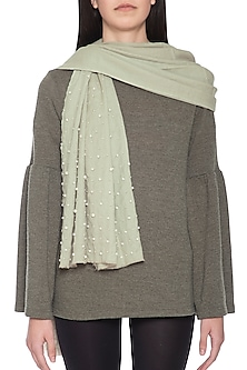 Sage green embroidered dyed stole by Vilasa