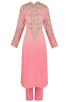 Pink Floral Embroidered Kurta and Pants Set