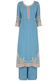 Blue Sequins Embroidered Kurta and Pants Set