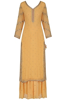 Orange Zardozi Embroidered Kurta and Palazzo Pants Set