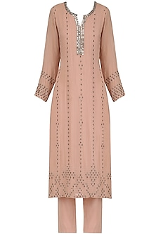 Pink Bead Embroidered Kurta and Narrow Pants Set