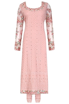 Pink Floral Embroidered and Mukaish Work Kurta Set