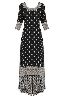 Black Sequins Emrboidered Kurta and Sharara Pants Set