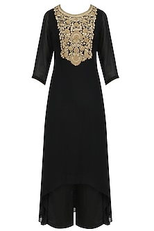 Black and Gold Floral Embroidered Kurta and Pants Set by Virsa