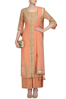 Peach Floral Embroidered Kurta and Pants Set by Virsa