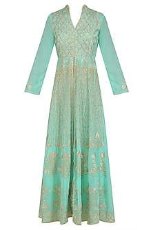 Teal Blue Floral Embroidered Anarkali and Pants Set