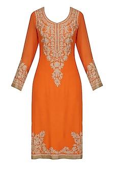 Orange Aari Embroidered Kurta