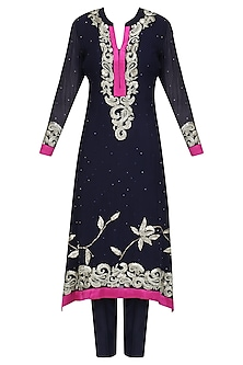 Navy Blue Floral Embroidered Kurta and Pants Set by Virsa