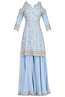 Blue Embroidered Short Kurta with Sharara Pants Set