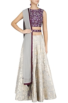 Purple and Grey Sequins Embroidered Lehenga Set by Virsa