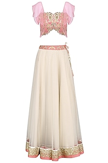 Pink and Ivory Embroidered Lehenga Set by Virsa