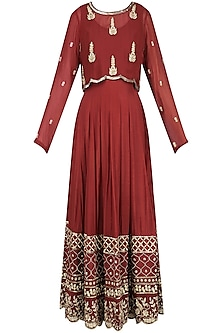 Maroon Embroidered Anarkali with Cape Set