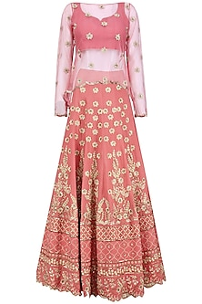 Old Rose Embroidered Lehenga and Cape Set