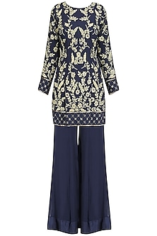 Navy Blue Embroidered Short Kurta and Palazzo Pants Set