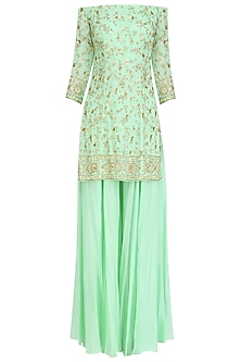 Mint Green Off Shoulder Short Kurta and Sharara Pants Set