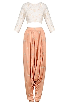 Cream Jaal Embroidered Crop Top and Drop Crotch Pants