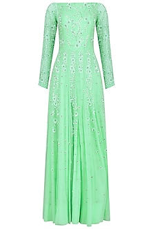 Mint Green Embroidered Off Shoulder Anarkali Set