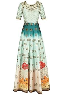 Teal Rose Ombre Dyed Embroidered Anarkali Set by Virsa