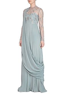 Frost Blue Embroidered Cross Shoulder Draped Gown by VIVEK PATEL
