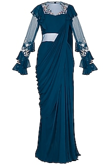 Teal Embroidered Frill Saree Gown by VIVEK PATEL