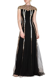 Black Embroidered Abstract Splatter Blot Gown by VIVEK PATEL