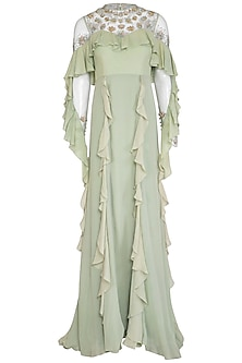 Calico Green Embroidered Ruffled Gown by VIVEK PATEL
