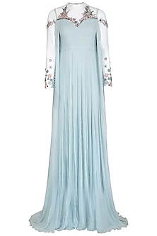 Sky Blue Plisse Embroidered Gown by VIVEK PATEL