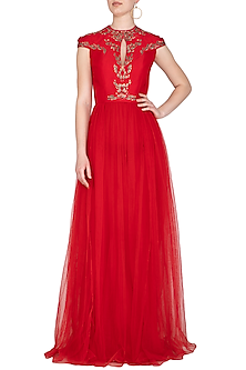 Red Embroidered Symmetrical Twig Gown by VIVEK PATEL