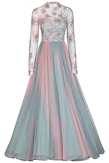 Pearl Pink & Frost Blue Embroidered Ombre Gown by VIVEK PATEL