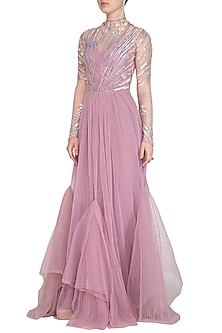Lavender Embellished Gown With Strappy Inner by VIVEK PATEL