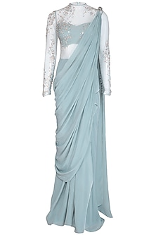 Frost Blue Embellished Ruffled Saree Gown by VIVEK PATEL