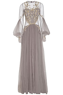 Grey Embroidered Pleated Bell Sleeves Saree Gown by VIVEK PATEL