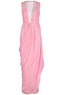 Salmon Pink Cross Grecian Embroidered Saree Gown by VIVEK PATEL