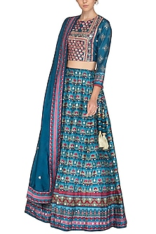 Blue Handcrafted Embroidered & Printed Lehenga Set by Vasansi Jaipur