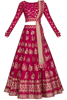 Pink Handcrafted Embroidered Lehenga Set by Vasansi Jaipur