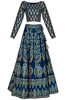 Blue Handcrafted Embroidered Lehenga Set by Vasansi Jaipur