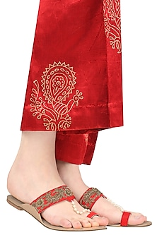 Crimson Red Floral Embroidered Kolhapuri Style Slip Ons