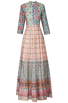 Off White Red and Green Block Printed Anarkali Gown by Vasansi Jaipur