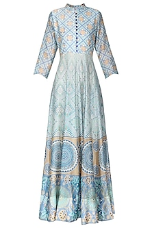 Off White Grey Block Printed Anarkali Gown
