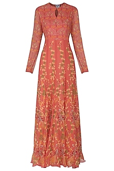 Orange Block Printed Sequins Embellished Anarkali Gown
