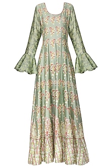 Green and Red Block Printed Anarkali Gown