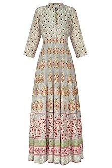 Grey and Red Block Printed Anarkali Gown