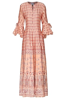 Peach, Green and Red Block Printed Anarkali Gown