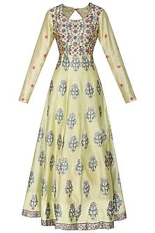 Mehendi Green Embellished Block Printed Anarkali Gown by Vasansi Jaipur