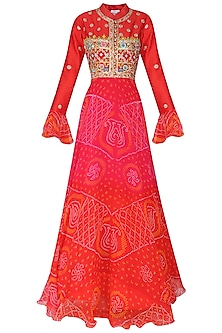 Pink and Red Bandhej Embroidered Anarkali Gown by Vasansi Jaipur