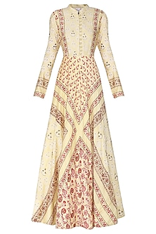 Beige Block Printed Sequins Embellished Anarkali Gown