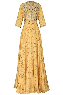 Mustard Yellow Badhej Embroidered Anarkali Gown