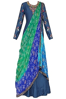 Blue Embroidered Anarkali Gown with Drape Dupatta