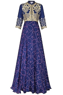 Blue Badhej Embroidered Anarkali Gown