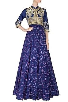 Blue Badhej Embroidered Anarkali Gown by Vasansi Jaipur